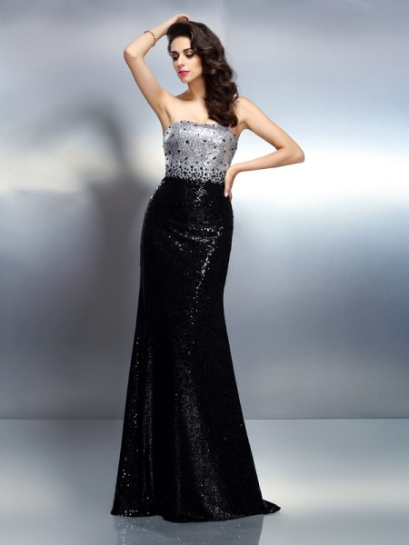 Trumpet/Mermaid Strapless Sequin Sleeveless Long Sequins Dresses