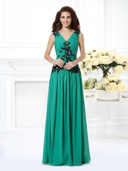A-Line/Princess V-neck Beading Applique Sleeveless Long Chiffon Dresses