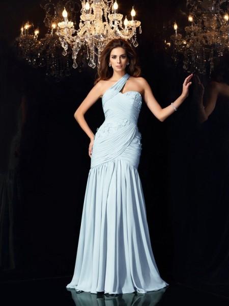 Trumpet/Mermaid One-Shoulder Sleeveless Long Chiffon Dresses