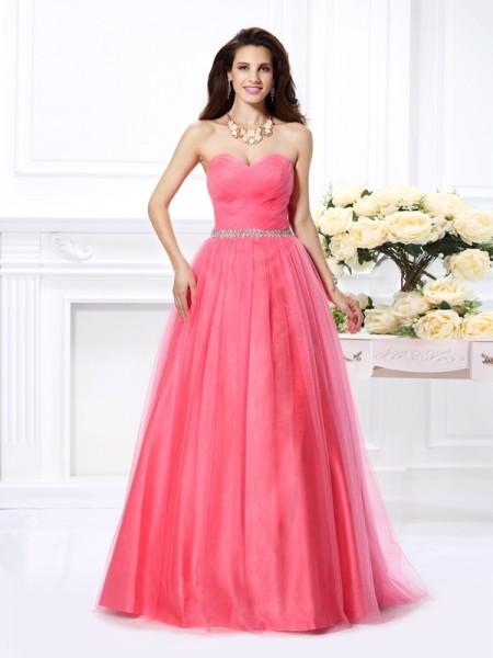 Ball Gown Sweetheart Pleats Sleeveless Long Satin Quinceanera Dresses