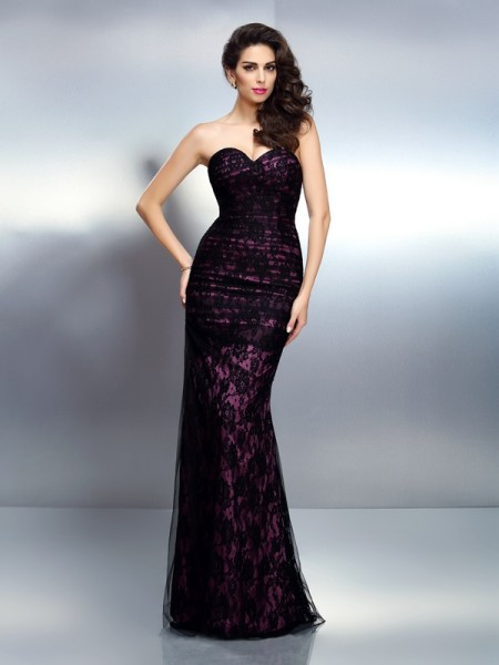 Trumpet/Mermaid Sweetheart Lace Sleeveless Long Elastic Woven Satin Dresses