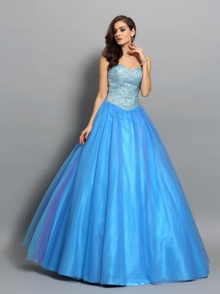 Ball Gown Sweetheart Beading Sleeveless Long Elastic Woven Satin Quinceanera Dresses