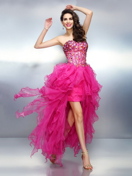 A-Line/Princess Sweetheart Rhinestone Sleeveless High Low Organza Cocktail Dresses