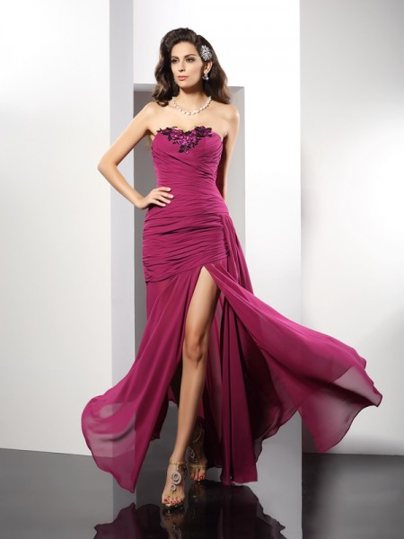 Sheath/Column Strapless Beading Sleeveless Long Chiffon Dresses