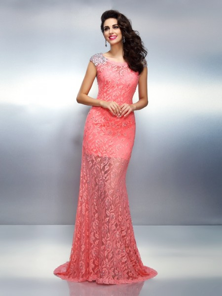 Trumpet/Mermaid Bateau Beading Sleeveless Long Satin Dresses