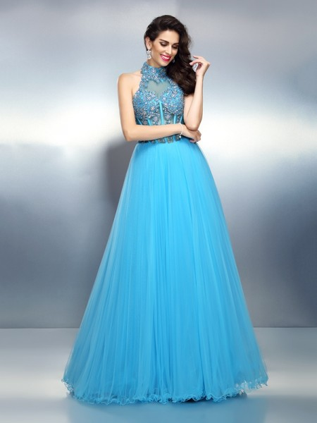A-Line/Princess High Neck Beading Sleeveless Long Satin Dresses