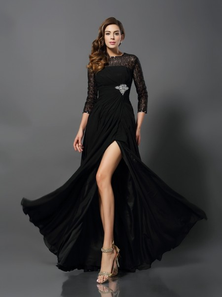 A-Line/Princess Bateau 3/4 Sleeves Long Lace Dresses