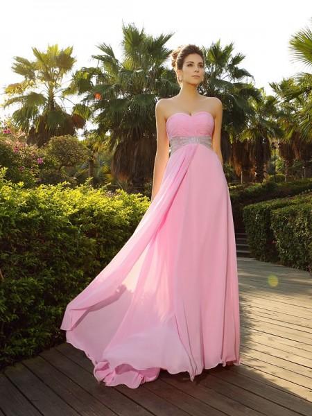 A-Line/Princess Sweetheart Applique Sleeveless Long Chiffon Dresses