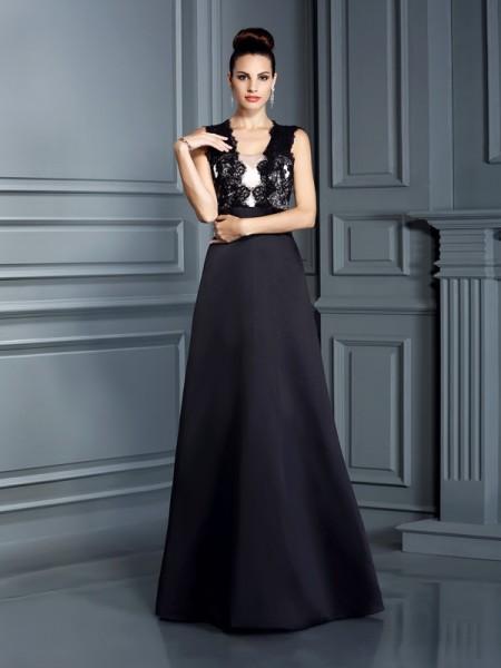 A-Line/Princess Straps Lace Sleeveless Long Satin Dresses