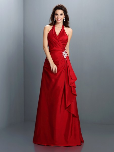 A-Line/Princess Halter Beading Sleeveless Long Taffeta Dresses