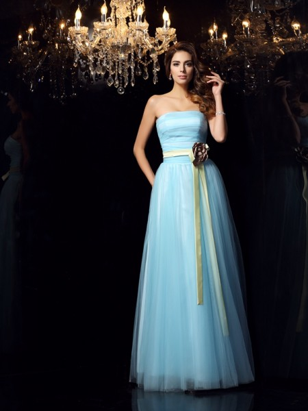 Ball Gown Strapless Sash/Ribbon/Belt Sleeveless Long Satin Quinceanera Dresses