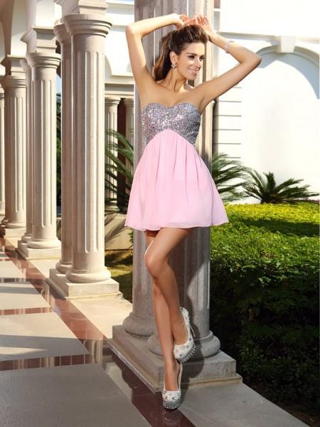 A-Line/Princess Sweetheart Sequin Sleeveless Short Chiffon Cocktail Dresses