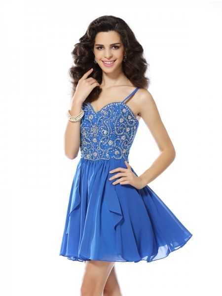 A-Line/Princess Spaghetti Straps Beading Sleeveless Short Chiffon Cocktail Dresses