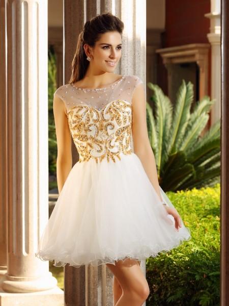 A-Line/Princess Scoop Ruffles Sleeveless Short Net Cocktail Dresses