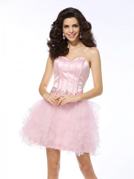 A-Line/Princess Sweetheart Ruffles Sleeveless Short Net Cocktail Dresses
