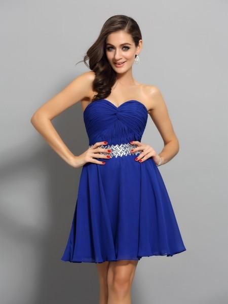 A-Line/Princess Sweetheart Beading Sleeveless Short Chiffon Cocktail Dresses