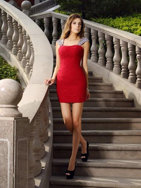 Sheath/Column Straps Beading Sleeveless Short Chiffon Cocktail Dresses