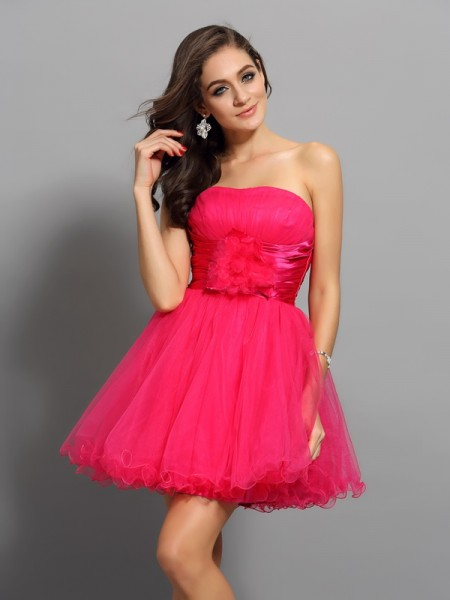 A-Line/Princess Sweetheart Sash/Ribbon/Belt Sleeveless Short Elastic Woven Satin Cocktail Dresses