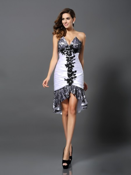 Sheath/Column Sweetheart Lace Sleeveless High Low Elastic Woven Satin Cocktail Dresses