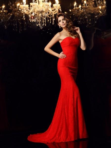 Trumpet/Mermaid Sweetheart Lace Sleeveless Long Lace Dresses
