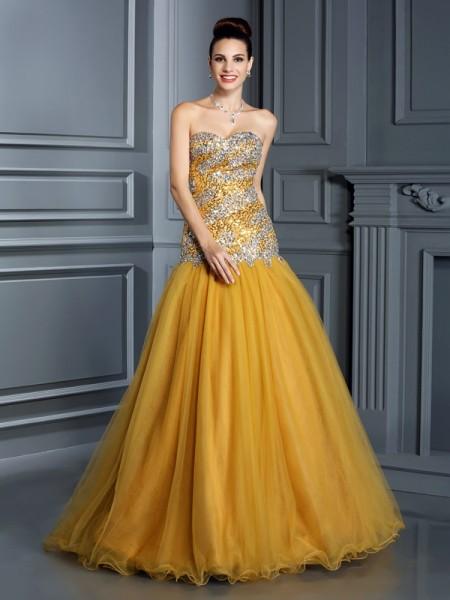 A-Line/Princess Sweetheart Ruffles Sleeveless Long Satin Dresses