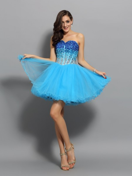 A-Line/Princess Sweetheart Ruffles Sleeveless Short Satin Cocktail Dresses