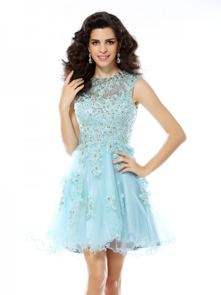 A-Line/Princess Scoop Beading Applique Sleeveless Short Satin Cocktail Dresses