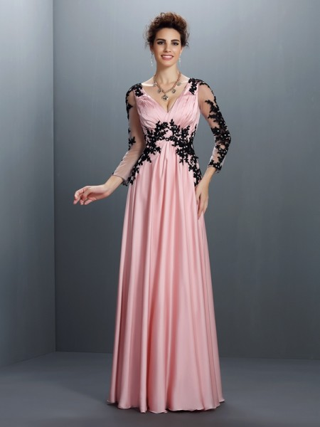 A-Line/Princess V-neck Applique 3/4 Sleeves Long Chiffon Dresses