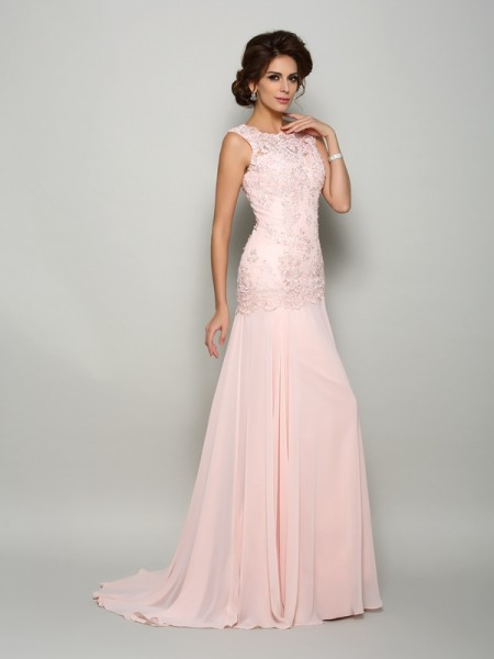 0e98c71e498 Trumpet Mermaid Scoop Beading Sleeveless Long Chiffon Mother of the Bride  Dresses