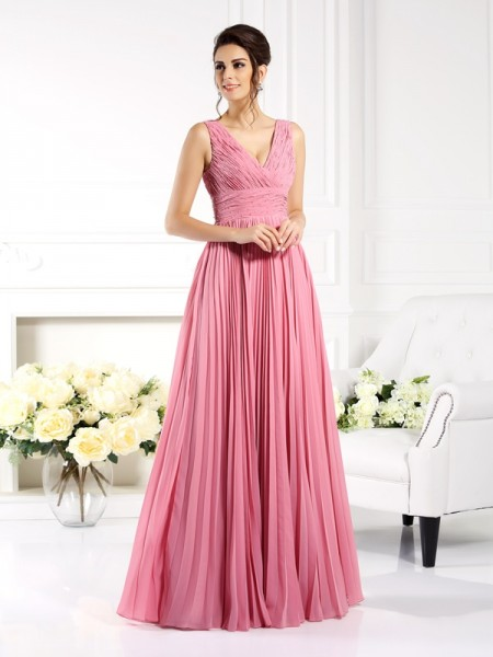 A-Line/Princess Sweetheart Pleats Sleeveless Long Chiffon Mother of the Bride Dresses