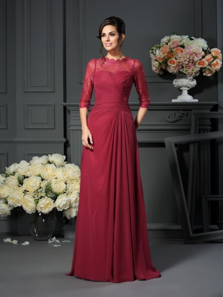 A-Line/Princess Scoop Applique 1/2 Sleeves Long Chiffon Mother of the Bride Dresses