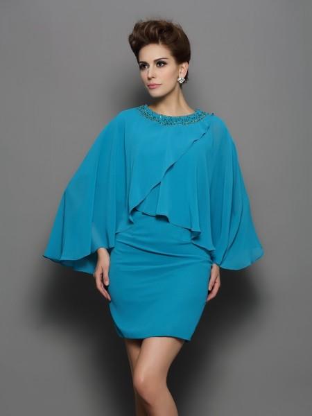 Sheath/Column Scoop Beading Long Sleeves Short Silk like Satin Mother of the Bride Dresses
