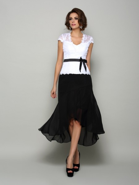 A-Line/Princess V-neck Sash/Ribbon/Belt Sleeveless High Low Chiffon Mother of the Bride Dresses