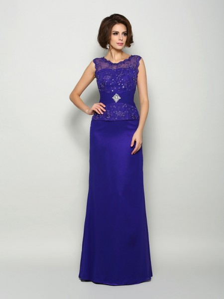 A-Line/Princess V-neck Beading Sleeveless Long Chiffon Mother of the Bride Dresses