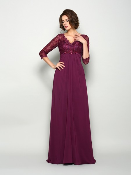 A-Line/Princess V-neck Beading 3/4 Sleeves Long Chiffon Mother of the Bride Dresses