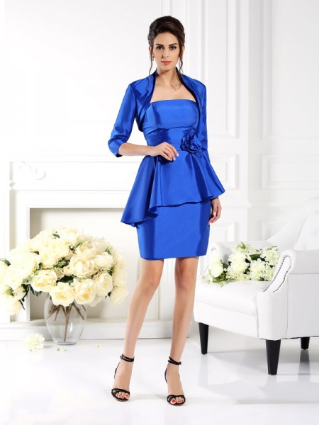 Sheath/Column Strapless Hand-Made Flower Sleeveless Short Taffeta Mother of the Bride Dresses
