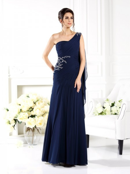 Sheath/Column One-Shoulder Sleeveless Long Chiffon Mother of the Bride Dresses