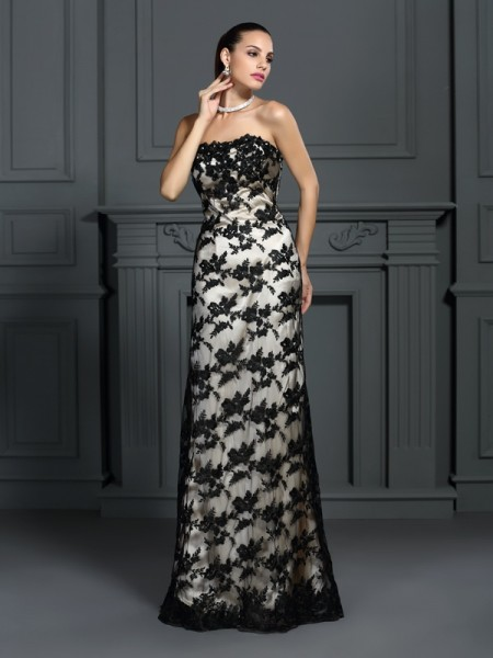 Sheath/Column Strapless Lace Sleeveless Long Elastic Woven Satin Dresses