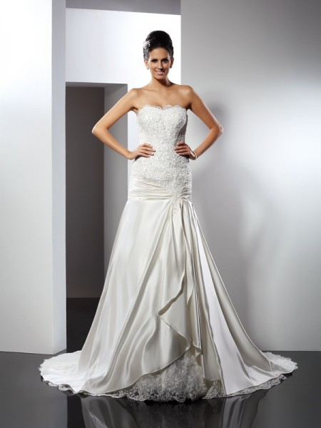 Trumpet/Mermaid Sweetheart Applique Sleeveless Long Satin Wedding Dresses
