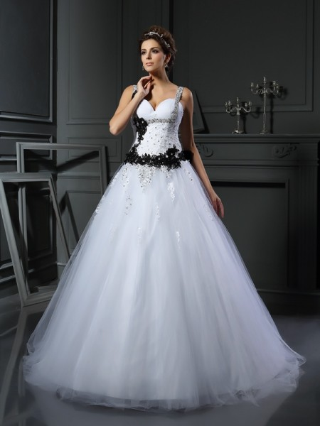 Ball Gown Straps Beading Sleeveless Long Tulle Wedding Dresses