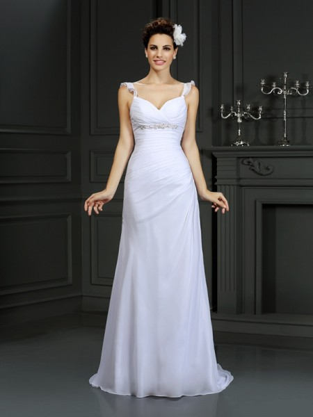 Trumpet/Mermaid Straps Beading Sleeveless Long Chiffon Wedding Dresses