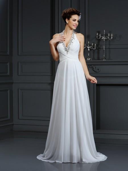 A-Line/Princess Halter Beading Sleeveless Long Chiffon Wedding Dresses