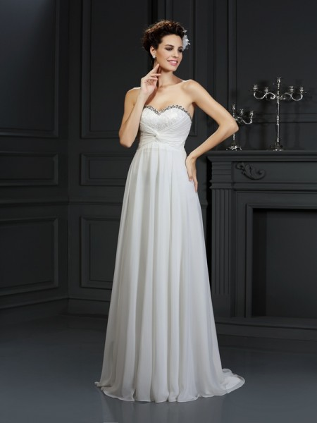 A-Line/Princess Sweetheart Ruffles Sleeveless Long Chiffon Wedding Dresses