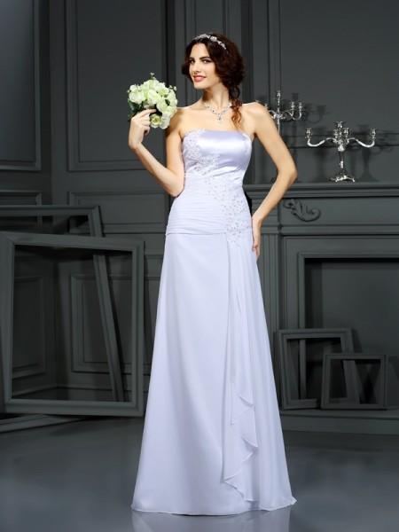 Sheath/Column Strapless Beading Sleeveless Long Chiffon Wedding Dresses