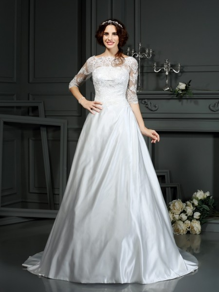 A-Line/Princess Bateau Lace 1/2 Sleeves Long Satin Wedding Dresses