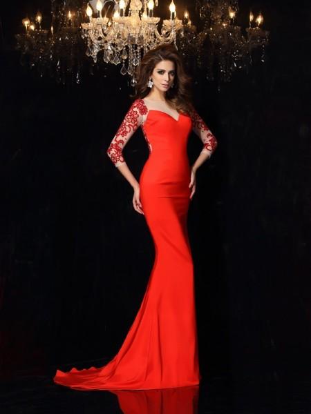 Trumpet/Mermaid Bateau Applique 3/4 Sleeves Long Elastic Woven Satin Dresses