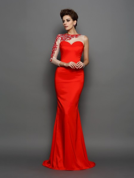 Trumpet/Mermaid High Neck Embroidery Long Sleeves Long Elastic Woven Satin Dresses