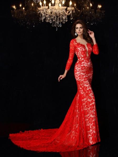 Sheath/Column Scoop Lace 3/4 Sleeves Long Elastic Woven Satin Dresses