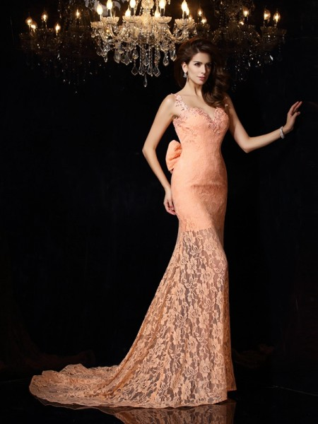 Sheath/Column Straps Lace Sleeveless Long Satin Dresses
