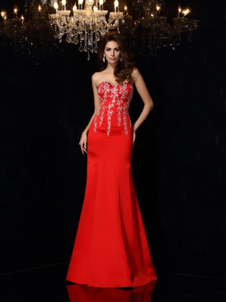 Sheath/Column Sweetheart Applique Sleeveless Long Satin Dresses